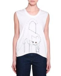 Stella McCartney - White Sleeveless Connect-the-dots Cat Top - Lyst