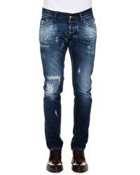 Dolce & Gabbana | Blue Five-pocket Destroyed Denim Jeans for Men | Lyst