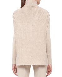 Akris - Natural Mock-neck Zip-front Cashmere Tabard Vest - Lyst