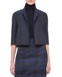 Akris - Blue Emma Reversible Solid/plaid Cocoon Jacket - Lyst