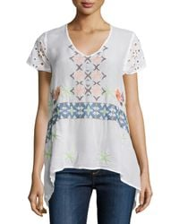 Johnny Was - White Wilson Eyelet-sleeve Embroidered Tunic - Lyst