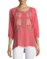 Johnny Was - Pink Ari 3/4-sleeve Embroidered Blouse - Lyst