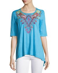 Johnny Was - Blue Cecilia Embroidered Trapeze Tee - Lyst