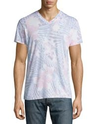 Sol Angeles - Blue Botanica Tropical-print V-neck T-shirt for Men - Lyst