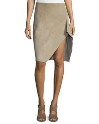 Narciso Rodriguez - Gray Asymmetric Suede Skirt - Lyst