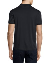 BOSS - Black Johnny-collar Contrast-tipped Polo Shirt for Men - Lyst