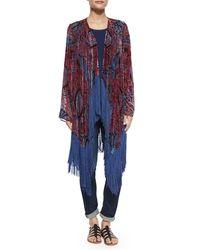 Neiman Marcus Multicolor Burnout Fringe-trim Kimono