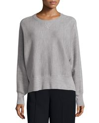 Vince - Gray Double-face Mesh Crewneck Sweater - Lyst