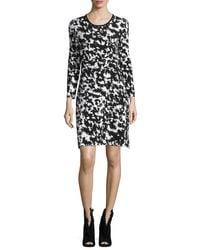 Burberry - Multicolor Long-sleeve Two-tone Sheath Dress - Lyst