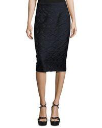 Michael Kors - Black Damask Jacquard Pencil Skirt - Lyst