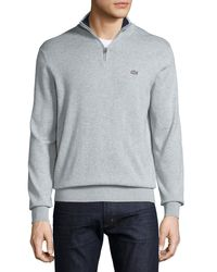 Lacoste - Gray Classic Quarter-zip Jersey Sweater for Men - Lyst