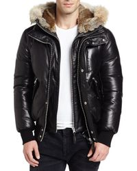 Mackage | Natural Leather Down Bomber Jacket W/coyote & Rabbit Fur Trim for Men | Lyst