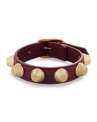 Balenciaga - Brown Giant Leather Golden Stud Bracelet - Lyst