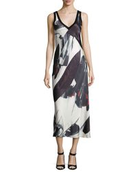 DKNY | Black Sleeveless Printed V-neck Midi Dress | Lyst