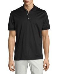 Brioni - Black Jersey Knit Polo Shirt for Men - Lyst