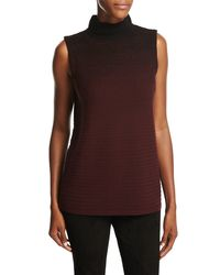 Lafayette 148 New York | Brown Sleeveless Mock Neck Ombre-stitched Sweater | Lyst