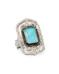 Armenta - Blue New World Midnight Turquoise & Diamond Scroll Ring - Lyst