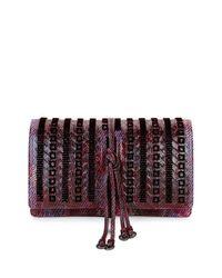 Bottega Veneta   Purple Snakeskin/velvet Full-flap Tie Clutch Bag   Lyst