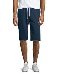 True Religion - Blue Contrast-stitch Cutoff Shorts for Men - Lyst