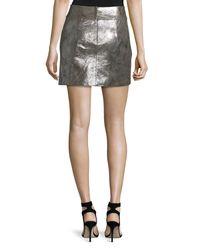 Halston Multicolor Metallic Leather Mini Skirt