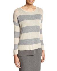 Eileen Fisher | Multicolor Sleek Lyocell/merino Long-sleeve Striped Boxy Top | Lyst