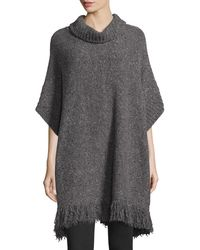Joie   Gray Hatice Tweed Cowl-neck Tunic Sweater   Lyst