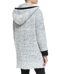 Rag & Bone - White Adele Contrast Trim Sweater Coat - Lyst
