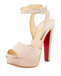 Christian Louboutin | Pink Louloudance Suede Platform Red Sole Sandal | Lyst