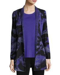 Misook | Blue Floral-print Knit Jacket | Lyst
