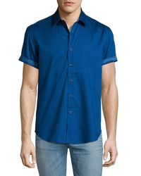 Robert Graham Blue Vertigo Short-sleeve Sport Shirt for men