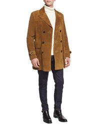 Tom Ford Brown Vintage Long Suede Pea Coat for men