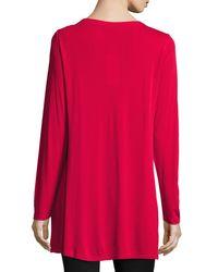 Eileen Fisher | Red Silk Jersey Long-sleeve Tunic | Lyst