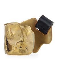 Tom Ford Metallic Melted Brass Cuff Bracelet With Leather Tab