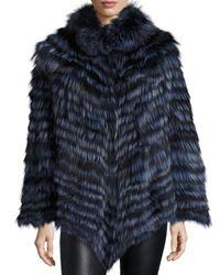 La Fiorentina - Blue Fox Fur Poncho - Lyst