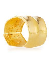 Kenneth Jay Lane - Yellow Wavy Golden Cuff Bracelet - Lyst