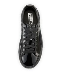 PUMA | Black Basket Patent Platform Low-top Sneaker | Lyst