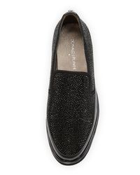 Donald J Pliner Black Coco Crystal Suede Loafer