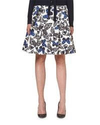 Carolina Herrera | Black Butterfly-print A-line Party Skirt | Lyst