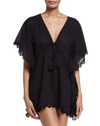 Seafolly Black Crochet-trim Caftan Coverup
