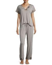 Natori | Gray Zen Floral-trim Short-sleeve Pajama Set | Lyst
