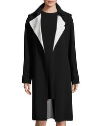 Theory Black Laurelwood Crepe Colorblock Trench Coat