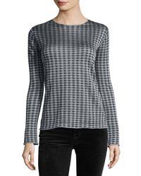 Giorgio Armani | Blue Houndstooth-print Crewneck Sweater | Lyst
