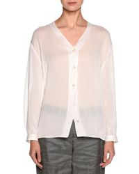 Giorgio Armani - White Sheer V-neck Button-front Blouse - Lyst