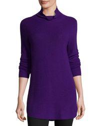 Eileen Fisher | Purple Long-sleeve Ribbed Turtleneck Tunic | Lyst