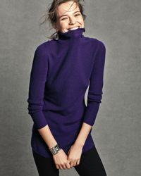 Eileen Fisher Black Long-sleeve Ribbed Turtleneck Tunic