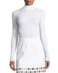 Michael Kors | White Ribbed Long-sleeve Turtleneck Sweater | Lyst