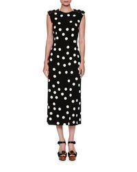 Dolce & Gabbana | Black Half-sleeve Lace-trim Polka Dot Dress | Lyst