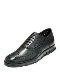 Cole Haan | Black Zerogrand Wing-tip Oxford for Men | Lyst