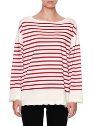 Dolce & Gabbana - Red Striped Lace-trim Pullover Top - Lyst