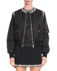 Givenchy | Black Crystal-trim Nylon Bomber Jacket | Lyst